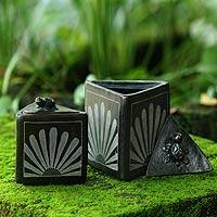 Ceramic jars, 'Sunflower Pyramid Frogs' (pair) - Black Ceramic Triangle Jar Crafted by Hand (Pair)