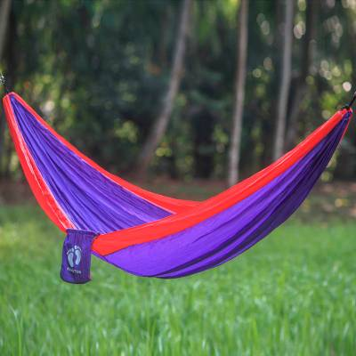 Hang Ten parachute hammock, 'Tropics for HANG TEN' (single) - Purple Parachute Hammock with Red Borders in Single Size