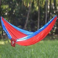 Hang Ten parachute hammock, 'Comet for HANG TEN' (single) - Fiery Red Single Size Parachute Hammock with Hanging Hooks