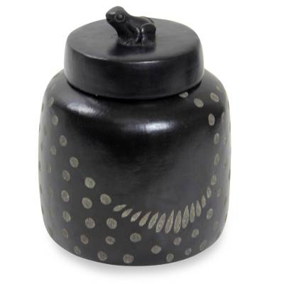 Indonesian Artisan Crafted Spotted Ceramic Jar with Lid