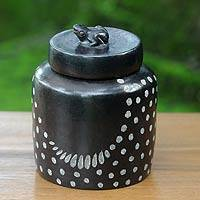 Ceramic jar, 'Frog Song' (large) - Spotted Artisan Crafted Ceramic Lidded Jar (Large)