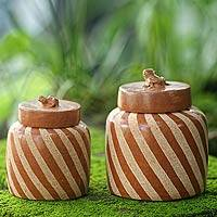 Ceramic jars, 'Lucky Frogs in Brown' (pair) - Handcrafted Ecthed Ceramic Lidded Jars (Pair)