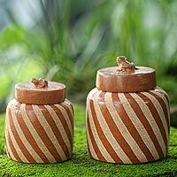 Ceramic jars, 'Lucky Frogs in Brown' (pair)
