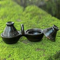 Ceramic condiment set, 'Lombok Wreath' - Handcrafted Indonesian Ceramic Condiment Set