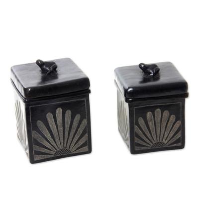 Black Ceramic Jars Crafted by Hand (Pair)
