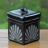 Ceramic jar, 'Sunflower Frog' - Fair Trade Square Ceramic Jar with Lid from Indonesia