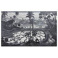 'Bali's Culture' (2012) - Large Scale Black and White Balinese Landscape Painting
