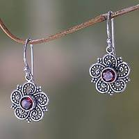 Garnet dangle earrings, 'Flower of Sumatra'