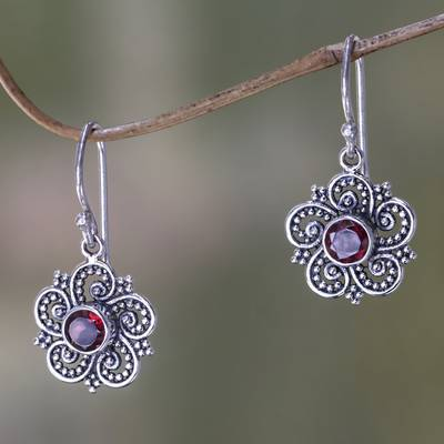 Garnet dangle earrings, 'Flower of Sumatra' - Sumatran Garnet Floral Earrings