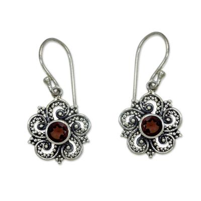 Sumatran Garnet Floral Earrings