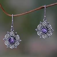 Amethyst flower earrings, 'Sumatran Blossom'