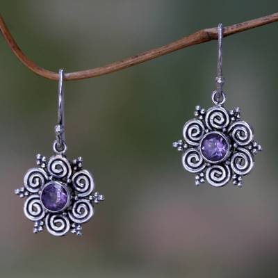 Amethyst flower earrings, 'Sumatran Blossom' - Sumatran Amethyst Floral Earrings