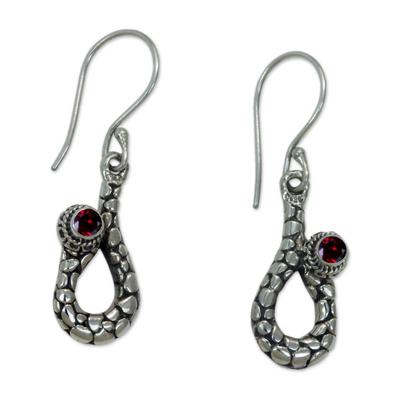 Sumatran Garnet Snake Earrings