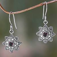 Garnet dangle earrings, 'Sumatran Sun' - Sumatran Garnet Dangle Earrings