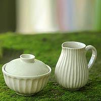 Ceramic sugar bowl and creamer set, 'Cream Waves' - Versatile Handcrafted Ceramic Sugar Bowl and Jug Set
