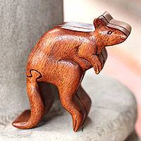 Wood puzzle box, 'Curious Kangaroo' - Artisan Crafted Kangaroo Puzzle Box