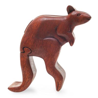 Artisan Crafted Kangaroo Puzzle Box