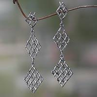 Sterling silver dangle earrings, 'Diamond Weave' - Handwoven Silver Strand Dangle Earrings