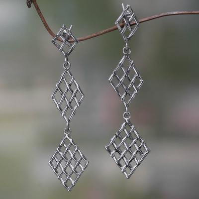 Sterling silver dangle earrings, 'Diamond Weave' - Handwoven Silver Strand Dangle Earrings