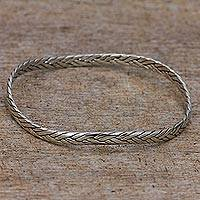 Sterling silver bangle bracelet, 'Braided Roundup' - Sterling Silver Round Bangle Bracelet