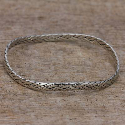 Sterling silver bangle bracelet, 'Braided Roundup' - Braided Sterling Silver Bangle Bracelet