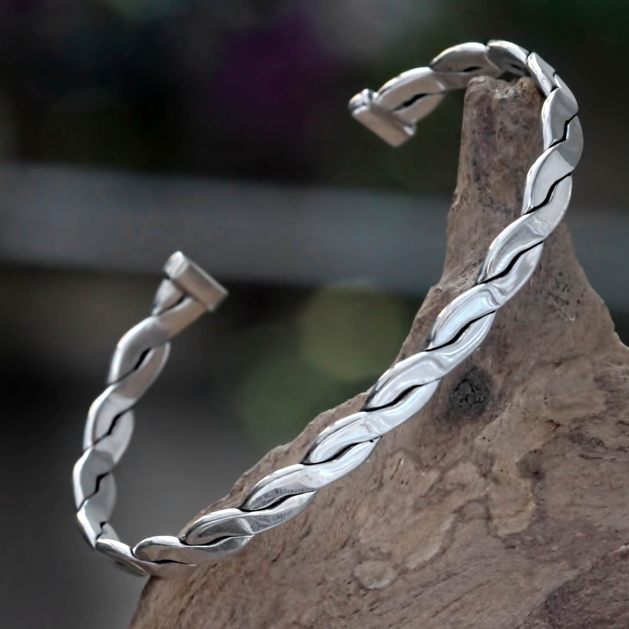 Handcrafted Balinese Silver Cuff Bracelet for Men - Surging Surf ...