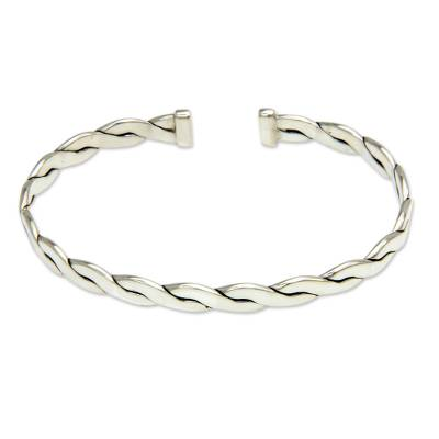 Men's sterling silver cuff bracelet, 'Surging Surf' - Handcrafted Balinese Silver Cuff Bracelet for Men