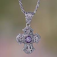 Amethyst cross necklace, 'Purity of Spirit'