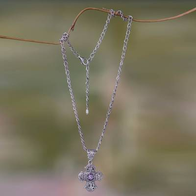 Amethyst cross necklace, 'Purity of Spirit' - Balinese Cross Necklace with Amethyst and Pearl