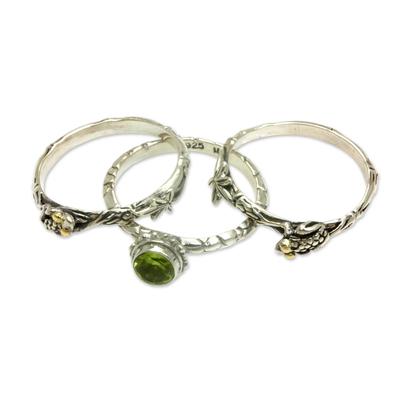 Peridot stacking rings, 'Tree Frog' (set of 3) - Peridot and Sterling Silver Stacking Rings (set of 3)