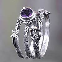Amethyst stacking rings, 'Tree Frog' (set of 3) - Amethyst and Sterling Silver Stacking Rings (set of 3)