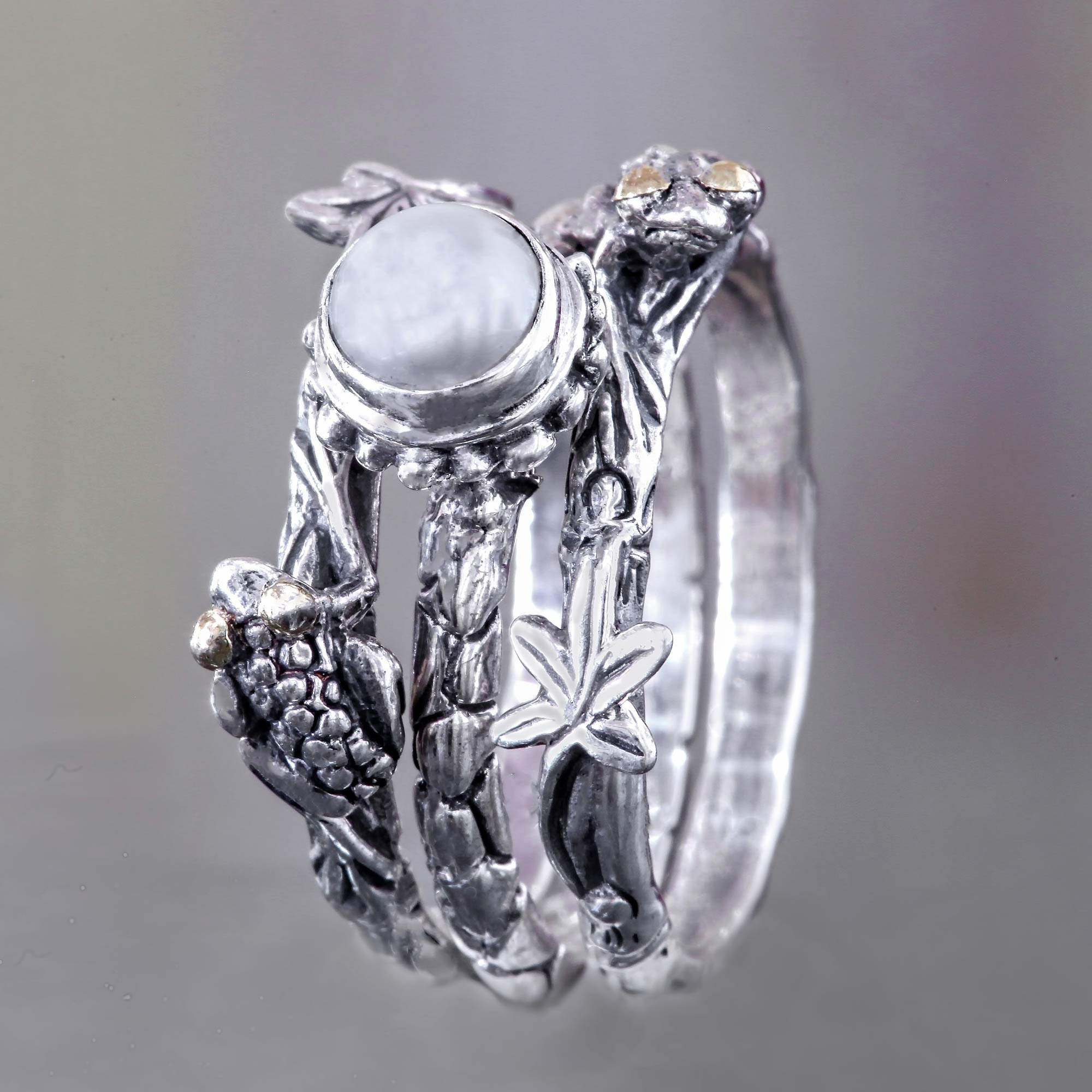 Size N Handmade Pearl Theme 925 Sterling Silver 3 Stacking Rings