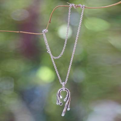 Sterling silver pendant necklace, 'Graceful Bamboo' - Handcrafted Balinese Silver Necklace