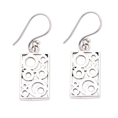 Sterling silver dangle earrings, 'Sea Foam' - Balinese Silver Dangle Earrings