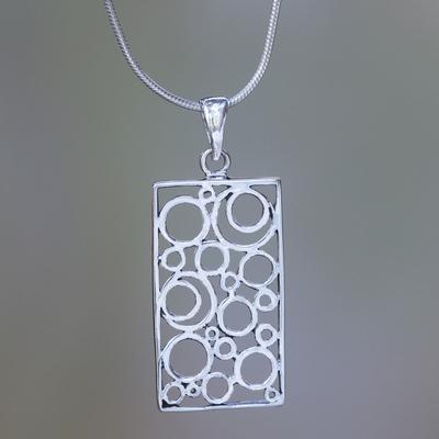 Sterling silver pendant necklace, 'Sea Foam' - Balinese Silver Pendant Necklace