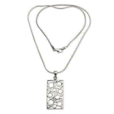 Sterling silver pendant necklace, 'Sea Foam' - Balinese Silver Pendant Necklace