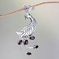Garnet brooch pin or pendant, 'Peahen in Love' - Silver Bird Brooch Pin-Pendant with Garnets