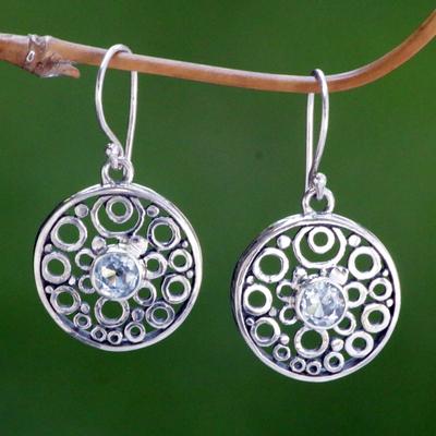 Blue topaz dangle earrings, 'Foamy Surf' - Balinese Blue Topaz Dangle Earrings