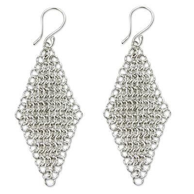 Sterling silver dangle earrings, 'Cascading Diamonds' - Handcrafted Fair Trade Sterling Silver Earrings