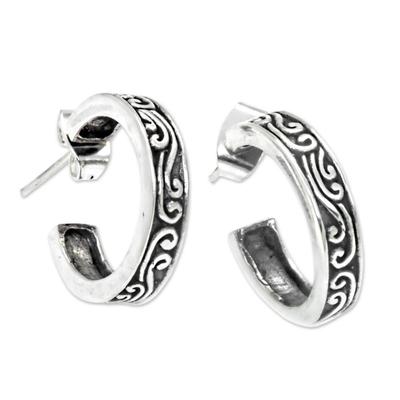 Sterling silver half hoop earrings, 'Ocean' - Artisan Crafted Sterling Silver Half Hoop Earrings