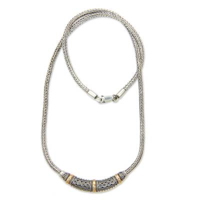 Sterling Silver Necklace with Gold Plated Accents