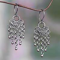 Sterling silver waterfall earrings, 'Genealogy' - Silver Chain Waterfall Earrings