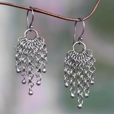 Sterling silver waterfall earrings, 'Genealogy' - Balinese Silver Waterfall Earrings