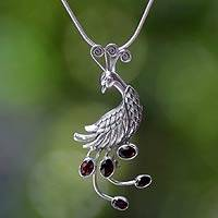 Garnet pendant necklace, 'Peahen in Love'