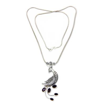 Garnet pendant necklace, 'Peahen in Love' - Silver Bird Necklace with Garnets