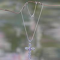 Sterling silver cross necklace, 'Christianity' - Silver Maltese Cross Necklace