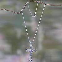 Amethyst cross necklace, 'Radiant Faith' - Silver and Amethyst Cross Necklace