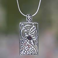 Garnet pendant necklace, 'Butterfly in Jasmine' - Silver and Garnet Butterfly Necklace