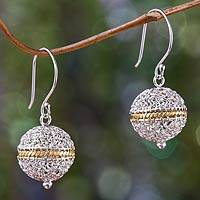 Gold accent dangle earrings, 'Shining Lantern' - Sterling Silver and Gold Accent Dangle Earrings