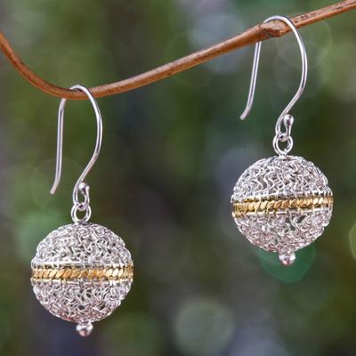 Gold accent dangle earrings, 'Shining Lantern' - Sterling Silver and Gold Accent Dangle Earrings